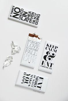 Typographic chocolate bar wrappers Fun.kyti.me