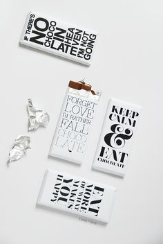 FREE printable typographic chocolate bar wrappers ^^
