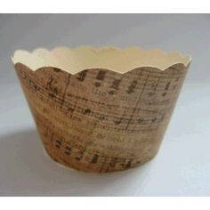 CUPCAKE WRAPPERS - Vintage Printed Music Design x 10 cup cake wraps ~ Cream CCVL31 by LarchMusic on Etsy