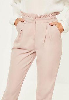 Missguided - Różowe spodnie cygaretki z wysokim stanem