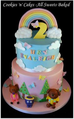 Hey Duggee cake, 2nd birthday cake, rainbows & butterflies, pastel colours. Girl 2nd Birthday, Themed Birthday Cakes, Birthday Ideas, Cbeebies Cake, Twins Cake, Cake Kids, Character Cakes, Pastel Colours, Girl Cakes