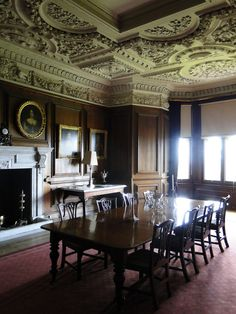 The ceiling, wooden walls of the castle dining room. Belton House, Harewood House, Chatsworth House, Global House, Houghton Hall, English Country Manor, Castle Interiors, English Interior