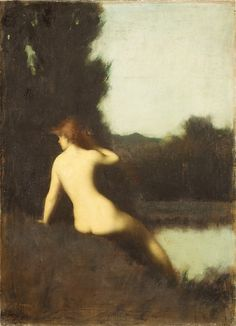 A Bather (Echo) Jean-Jacques Henner    This painting—commissioned in 1881 by Catharine Lorillard Wolfe, a great patron of contemporary French painting and of the Metropolitan—is a replica of a well-known composition of the same year now in the Musée national Jean-Jacques Henner, Paris.