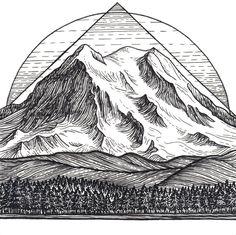 Mt Rainier 8x8 Print - Mountain Art Giclee Print - Mount Rainier, Seattle, Washington Drawing by LizzyDaltonArt on Etsy https://www.etsy.com/listing/542869291/mt-rainier-8x8-print-mountain-art-giclee