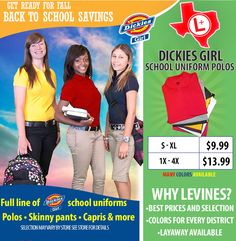 Shop @levinesds for all of your back to school needs! #Dickies Girl  polos as low as $9.99 #bts