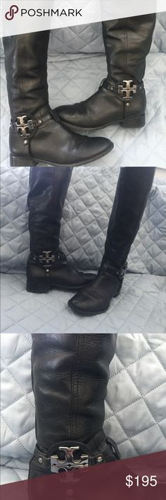 """🦋Host Pick Tory Burch Boots 100% Authentic  Unique Style Great Condition Really nice size Tory Burch logo on sides in silver I am 5""""2 and they are just below my knees Super stylish boots Please no low balls Tory Burch Shoes Winter & Rain Boots"""