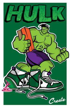 HULK NIKE DUNK by sean hamilton Nike Presents, Hulk Art, Nike Wallpaper, Marvin The Martian, Hypebeast Wallpaper, Sneaker Art, Basketball Art, Image Fun, Dope Art
