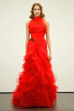 Scarlet Red Wedding Dress Vera Wang Spring 2013 Collection