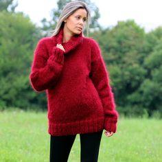 RED Hand Knitted Mohair Sweater FUZZY Soft Dress Pullover EXTRAVAGANTZA S M L #Extravagantza #Turtleneck