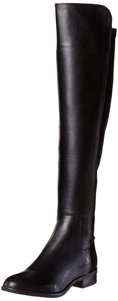 78d2a976d7b Clarks Women s Stacked Heel Over the Knee Boots Caddy Belle Black Leather   Amazon.co
