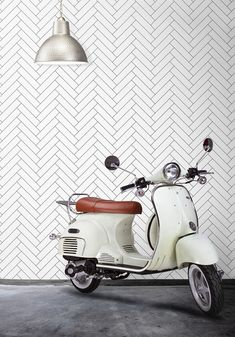Inspired by the clean lines and traditional pattern of herringbone tiles. A tile wallpaper perfectly suited for achieving the modern Scandinavian design. Chevron Wallpaper, Bathroom Wallpaper, Of Wallpaper, Designer Wallpaper, Spotted Wallpaper, Accent Wallpaper, Wallpaper Designs, Scandinavian Wallpaper, Scandinavian Pattern