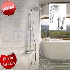 Grupo de #ducha Hurón: Grifería termostática, estante y rociador de #acero extrafino. Desde 279 €.