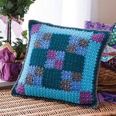 Nine-Patch Pillow by Katherine Eng. Crochet World Magazine, April 2012.