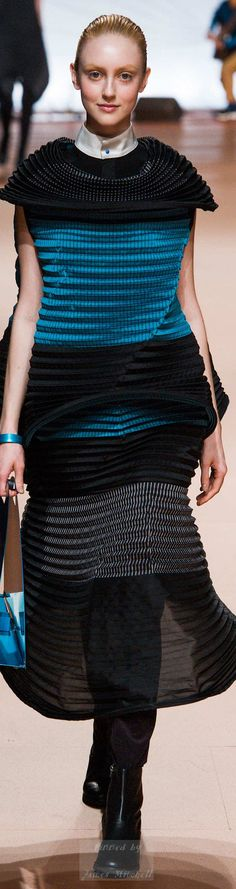 Issey Miyake Collection Fall 2014. I can tell that she play around with pleating.