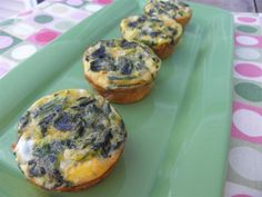 Quiche Cups || 10 eggs // 1/4 tsp salt // 1/2 cup milk // 1/2 cup low fat shredded cheese // 2 cup chopped spinach // optional: 6 slices bacon || Cook bacon until crisp (optional). Add spinach to bacon on low heat to warm. Coat muffin pan with nonstick spray. Whisk eggs, salt and milk together. Evenly distribute bacon and spinach mixture into muffin cups. Evenly add cheese to cups. Lastly, pour egg mixture into cups so they are 3/4 full. Bake for 25mins at 350 degrees.