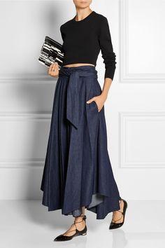 Tibi|Belted denim maxi skirt|NET-A-PORTER.COM