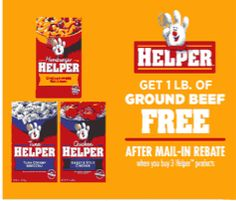 FREE Ground Beef with Purchase of Hamburger Helper via Mail-in-Rebate