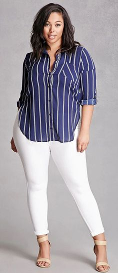 Plus Size Striped Button-Up Shirt
