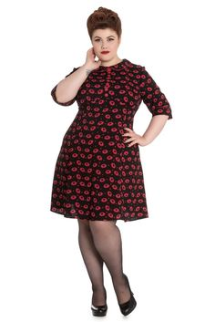 Hell Bunny Plus 50's Retro Mod KISS ME DEADLY Vampire Lips Mini Dress