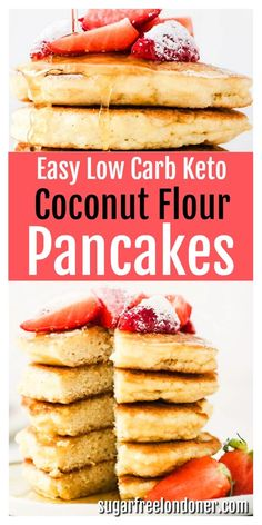The ultimate simple and simply delicious coconut flour pancake recipe. Works with sweet and savoury toppings, from sugar free maple syrup to crispy bacon rashers! Only 1.6g net carbs per serving, light and fluffy and suitable for low carb and keto diets. Great for meal prep - prepare a batch the day before and simply re-heat in the morning for a quick weekday breakfast or a leisurely weekend brunch. These pancakes freeze well, too! #ketopancakes #lowcarbpancakes #coconutflourpancakes Coconut Flour Pancakes, Coconut Flour Recipes, Low Carb Pancakes, Low Carb Breakfast, Breakfast Recipes, Low Carb Keto, Low Carb Recipes, Cooking Recipes, Sin Gluten