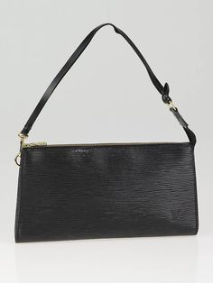 Louis #Vuitton Black #Epi Leather Accessories Pochette 24 Bag