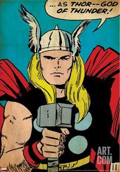 Marvel Comics Retro: Captain America Comic Panel; God of Thunder! Holding Hammer