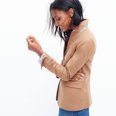 J.Crew Looks We Love: women's Regent blazer, favorite shirt in stripe and denim front-slit skirt.