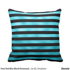 Faux Teal Blue Black Horizontal Aqua Stripes Throw Pillow
