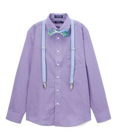 Purple & Blue Button-Up Set - Boys
