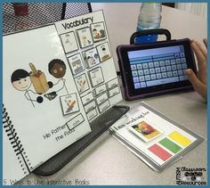 Student using augmentative communication (a speech generating device) to identify vocabulary in an interactive book about Thanksgiving. From 5 Ways to Use Interactive Books in the Classroom by Autism Classroom Resources