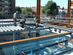 Installation of metal decking.JPG