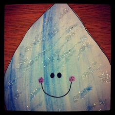 Make a big raindrop pattern and paint it with watercolor. Add some clear glitter for a cute and sparkly classroom decoration to hang from the ceiling or decorate a bulletin board.