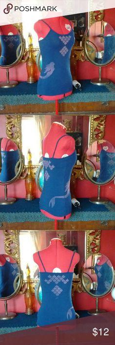 Navy blue mermaid scales tank top shirt. Cute navy blue tank top with mermaid and scales design hand done using bleach to fade the fabric.  Size medium No Boundaries Tops Tank Tops