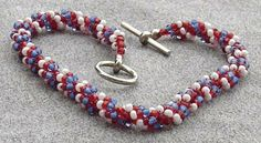 FOURTH OF JULY Beaded Twist Bracelets  Choice of by TessCreates, $10.00