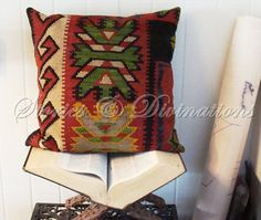 Kilim Pillow  Red Turkish Kilim with Feather by StoriesDivinations, $65.00