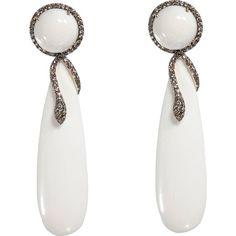 SIDNEY GARBER MAMMOTH & BROWN DIAMOND SERPENT DROP EARRINGS