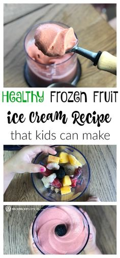Healthy Frozen Fruit Ice Cream Recipe This frozen healthy ice cream tastes just like real ice cream but without the added sugars. All you need is frozen fruit, water and a blender/food processor. Frozen Fruit Ice Cream Recipe, Frozen Fruit Smoothie, Ice Cream Smoothie, Fruit Smoothie Recipes, Ice Cream Recipes, Recipes With Frozen Fruit, Ww Ice Cream Recipe, Blender Ice Cream, Bon Dessert