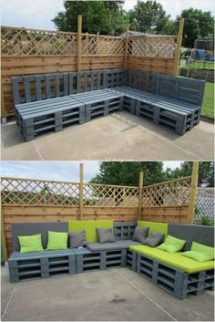 Pallet garden sofa is also suitably appearing out to one of the finest options for using the recycle wood pallet … Pallet Garden Furniture, Diy Outdoor Furniture, Outdoor Decor, Garage Furniture, Homemade Furniture, Inexpensive Furniture, Furniture Layout, Wooden Furniture, Wood Pallet Recycling