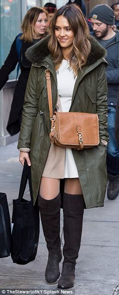 Who made Jessica Alba's green coat, tan handbag, and brown suede thigh high boots? Thigh High Boots Outfit, Knee Boots, Green Coat, Green Parka, Khaki Parka, Green Jacket, Winter Outfits, Casual Outfits, Night Outfits