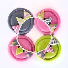 Pink Lime Grey Bunting Buttons 4 by TinyPips on Etsy
