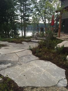Quarry tailing pavers as pathway material. Outdoor Garden Rooms, Outdoor Plants, Outdoor Gardens, Outdoor Living, Stone Landscaping, Landscaping Ideas, Natural Patio Ideas, Cahaba River, Stone Farms