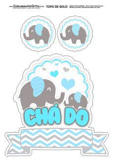 Topo de Bolo Elefantinho Azul 2 Felt Crafts, Diy And Crafts, Diy Party Decorations, Reveal Parties, Silhouette Projects, Baby Elephant, Baby Boy Shower, Cake Toppers, Clip Art