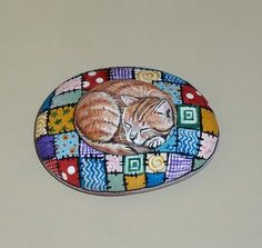 ANCIENT GRAFFITI: Ribbon Bow Gift Rock, Tabby Cat, Blue Bird of Happiness, Cat on Quilt Rock Stone Pet Painting