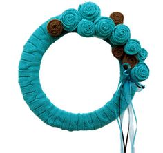 Tiffany Blue Sweater Wreath Up Cycled Teal and by nanniepannie, $35.00