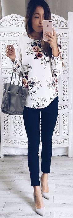 floral print top + black pants & heels