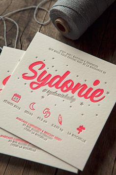Faire-part de naissance Sydonie en gris et fluo 812U / baby birth announcement letterpress printed in neon