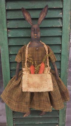 Primitive Folkart Black Rabbit Doll.......Think Spring......