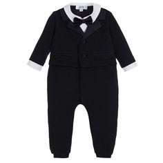 ALETTA Blue Cotton Evening Suit Babygrow