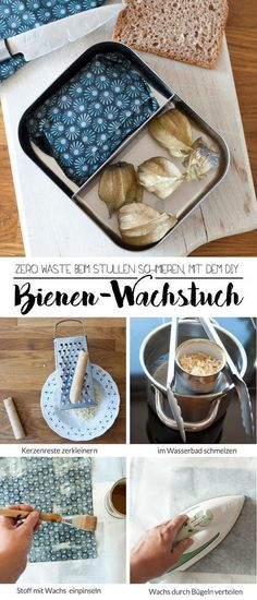 DIY Bienenwachstuch – statt Plastikfolie With the DIY beeswax cloth, you no longer need cling film or sandwich paper! You can easily make the flexible, reusable packaging yourself and do something good for the environment. A tutorial from johannarundel. Tetra Pak, Diy 2019, Fleurs Diy, Plastic Wrap, Sewing Projects For Beginners, Diy Hacks, Artisanal, Diy Beauty, Beauty Hacks