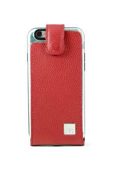 #Funda de #Cuero Roja auténtico #finger360 colección nautica #iphone
